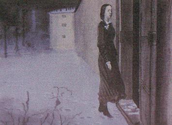 """П. Строев """"Девушка перед дверью тюрьмы"""". Иллюстрация к стих. в прозе Тургенева """"Порог"""""""