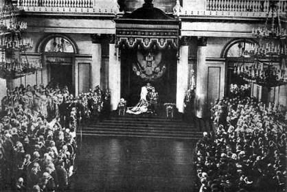 Император Николай II выступает с Манифестом о создании Государственной Думы