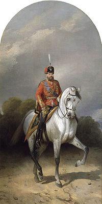 """Н. Сверчков """"Портрет императора Александра III  в мундире лейб-гвардии Гусарского полка"""""""